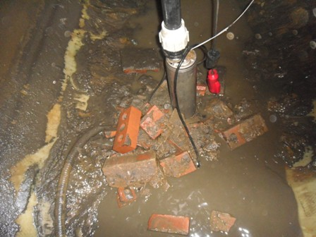 Construction debris in Rainwater Harvesting tank