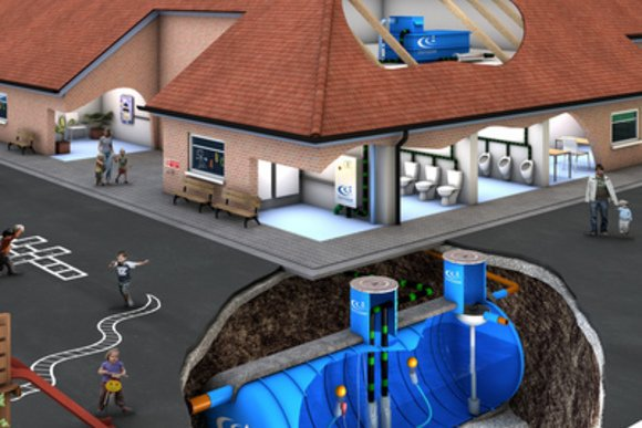 Commercial Rainwater Harvesting System with Underground View