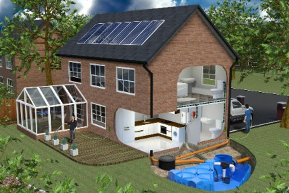 Domestic Rainwater Harvesting System Installation Diagram