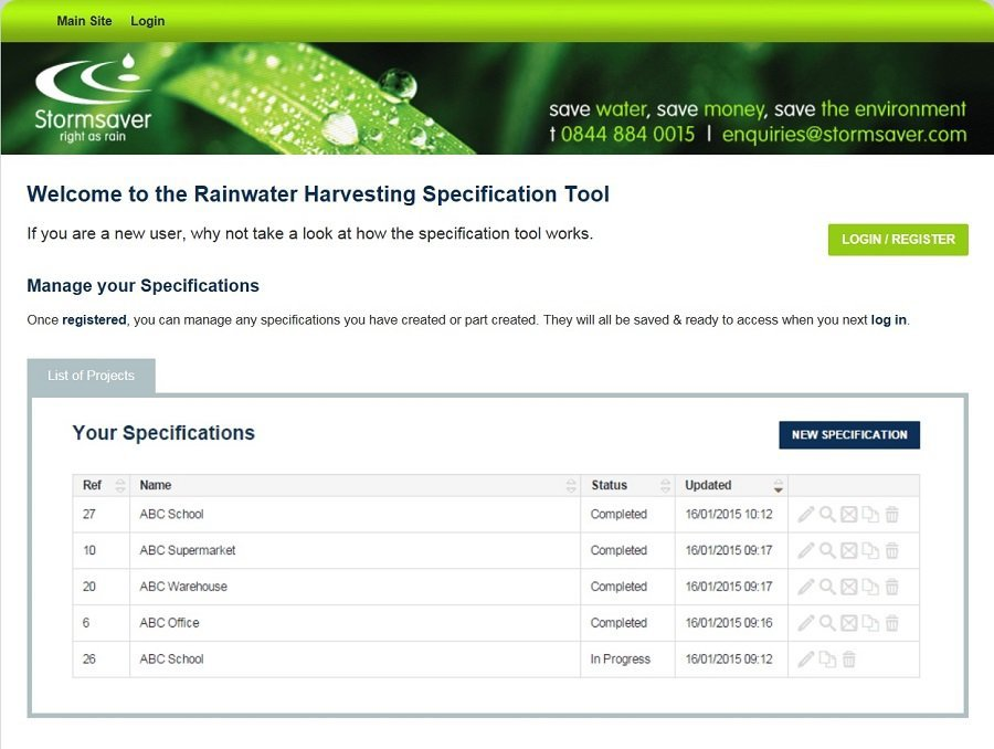 rainwater harvesting specification tool
